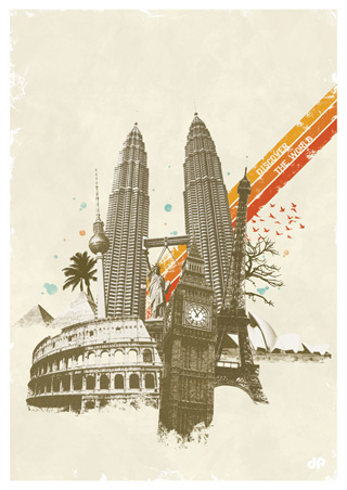 Discover The World - Collage Poster Design