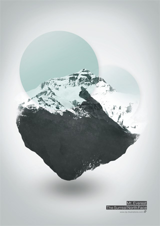 Mount Everest - The Surreal North Face - Digital Illustration Art Print