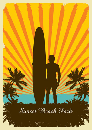 Sunset Beach Park - Surf Art Print